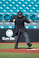 Home plate umpire Andrew Glenn calls a batter out on strikes during the NCAA baseball game between the Western Carolina Catamounts and the Kennesaw State Owls at Springs Brooks Stadium on February 22, 2020 in Conway, South Carolina. The Owls defeated the Catamounts 12-0.  (Brian Westerholt/Four Seam Images)