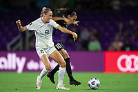 ORLANDO, FL - SEPTEMBER 11: Freja Olofsson #8 of Racing Louisville FC and Marta #10 of the Orlando Pride battle for the ball during a game between Racing Louisville FC and Orlando Pride at Exploria Stadium on September 11, 2021 in Orlando, Florida.