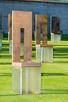 Oklahoma City, Oklahoma, USA.  OKC National Memorial Chairs Honoring Those Killed.