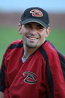 Augie Ojeda of the Arizona Diamondbacks during batting practice before a game from the 2007 season at Dodger Stadium in Los Angeles, California. (Larry Goren/Four Seam Images)