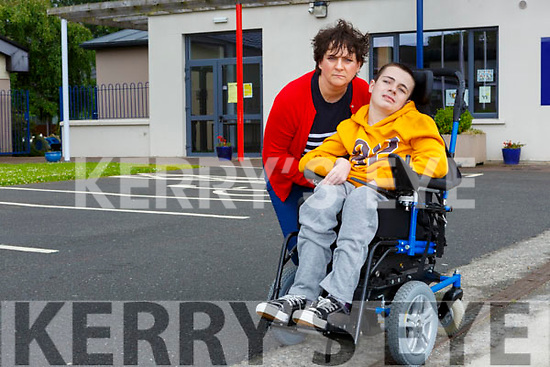 Ronan Foley with his teacher Josephine Doucel at the lauch of the #RONANSOPNOW campaign launch in St Olivers NS Killarney on Wednesday