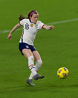 ORLANDO CITY, FL - FEBRUARY 18: Rose Lavelle #16 takes a shot during a game between Canada and USWNT at Exploria stadium on February 18, 2021 in Orlando City, Florida.