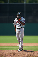 Tri-City ValleyCats relief pitcher Diogenes Almengo (35) looks in for the sign during a game against the Batavia Muckdogs on July 16, 2017 at Dwyer Stadium in Batavia, New York.  Tri-City defeated Batavia 13-8.  (Mike Janes/Four Seam Images)