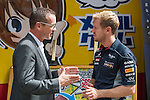 Triple Formula One World Champion and Infiniti Red Bull Racing driver Sebastian Vettel kicked off his Japanese Grand Prix weekend today by greeting thousands of adoring Japanese fans during a special event at the Infiniti and Nissan Japanese headquarters in Yokohama and also including a visit to an amusement arcade in Shibuya for TV filming. Photo by Victor Fraile / The Power of Sport Images