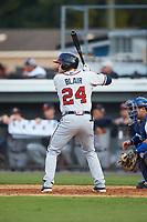 Connor Blair (24) of the Danville Braves at bat against the Burlington Royals at Burlington Athletic Stadium on July 13, 2019 in Burlington, North Carolina. The Royals defeated the Braves 5-2. (Brian Westerholt/Four Seam Images)