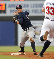 July 15, 2009: Shortstop Brian Dozier (15) of the Elizabethton Twins makes a putout at second base before a game at Dan Daniel Memorial Park in Danville, Va. Dozier was named Appalachian League batter of the week for Aug. 10-16, 2009. Photo by:  Tom Priddy/Four Seam Images