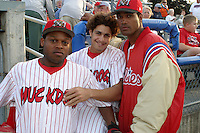 September 3, 2003:  Javon Moran, Estabon DeLosSantos, and Jose Correa of the Batavia Muckdogs during a game at Dwyer Stadium in Batavia, New York.  Photo by:  Mike Janes/Four Seam Images