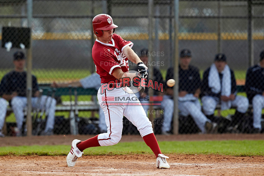 Indiana Hoosiers outfielder Tim O'Conner at bat during a game against the Pittsburgh Panthers at the Big Ten/Big East Challenge at the Walter Fuller Complex on February 19, 2012 in St. Petersburg, Florida.  (Mike Janes/Four Seam Images)