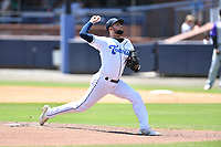 Asheville Tourists pitcher Jose Bravo (16) delivers a pitch during a game against the Winston-Salem Dash on August 8, 2021 at McCormick Field in Asheville, NC. (Tony Farlow/Four Seam Images)
