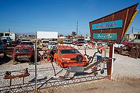 View of the Bombay Beach Drive-in at Bombay Beach in Niland, California.