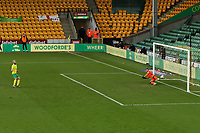 13th February 2021; Carrow Road, Norwich, Norfolk, England, English Football League Championship Football, Norwich versus Stoke City; Teemu Pukki of Norwich City scores from the penalty spot for 4-1 in the 80th minute