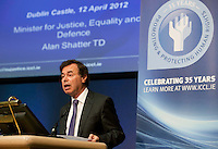 """**** NO FEE PIC***.12/04/2012 .Alan Shatter TD, Minister for Justice, Equality and Defence.during a conference on the """"The EU Directive on Victims Rights: Opportunities and Challenges for Ireland"""" hosted by the the Irish Council for Civil Liberties (ICCL) in Dublin Castle..Photo: Gareth Chaney Collins"""