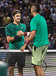 March 31 2017: Roger Federer (SUI) defeats Nick Kyrgios (AUS) by 7-6, 6-7, 7-6 at the Miami Open being played at Crandon Park Tennis Center in Miami, Key Biscayne, Florida. ©Karla Kinne/tennisclix/EQ