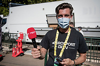 Bernhard 'Bernie' Eisel transitioned from rider into reporter this season<br /> <br /> Stage 7 from Millau to Lavaur (168km)<br /> <br /> 107th Tour de France 2020 (2.UWT)<br /> (the 'postponed edition' held in september)<br /> <br /> ©kramon