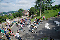 peloton on the Mur de Huy, Team OPQS on the front<br /> <br /> 2014 Belgium Tour<br /> (final) stage 5: Oreye - Oreye (179km)