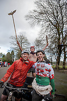 Saturday 10 January 2015<br /> Pictured: ( L-R )  The winners Nick Williamson, Charlie Pope and Tom Cromarty<br /> Re: The World Mountain Bike Chariot Racing Championships take place at LLanwrtyd Wells, Wales, UK