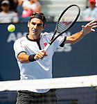September 1,2019:  Roger Federer (SUI) defeated David Goffin (BEL) 6-2, 6-2, 6-0, at the US Open being played at Billie Jean King National Tennis Center in Flushing, Queens, NY.  ©Jo Becktold/CSM