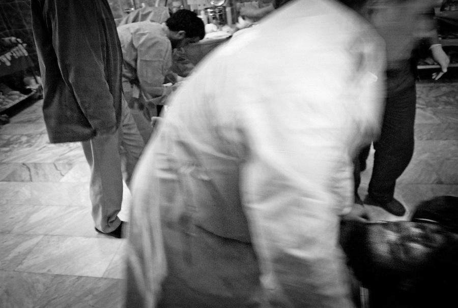 Rebel casualty caused by mortar, Ajdabiya Hospital, Ajdabiya, Libya.