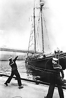 1967 FILE PHOTO - ARCHIVES -<br /> <br /> The bluenose II and a blue boy at expo. RCN sailor helps berth the Bluenose II; a replica of the famous Nova Scotia schooner; at its dock at Expo 67 Cite de Havre. The vessel will be host ship of Expo's Visiting Ship Program and will be open to the public during its stay at the fair. <br /> <br /> 1967<br /> <br /> PHOTO : Boris Spremo - Toronto Star Archives - AQP