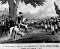 Washington Taking Command of the American Army, at Cambridge, Mass.  July 3rd, 1775.  Copy of lithograph by Currier & Ives, 1876.   (George Washington Bicentennial Commision)<br /> NARA FILE #:  148-GW-571<br /> WAR & CONFLICT #:  16