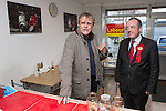 © Joel Goodman - 07973 332324 . . 07/02/2014 .  Manchester , UK . DAVID NEILSON (l) , who plays Roy Cropper in Coronation Street , meets Labour candidate Mike Kane (r) at Jackie's Cafe in Northern Moor , to show his support for Labour at the Wythenshawe and Sale East by-election . Photo credit : Joel Goodman