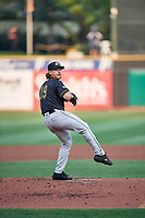 Sacramento River Cats starting pitcher Scott Kazmir (19) throws to the plate during the game against the Salt Lake Bees at Smith's Ballpark on August 16, 2021 in Salt Lake City, Utah. The Bees defeated the River Cats 6-0. (Stephen Smith/Four Seam Images)