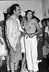 SIMONETTA STEFANELLI CON IBRAHIM MOUSSA<br /> FESTA PER I 30 ANNI DI HELMUT BERGER JACKIE O' ROMA 1974
