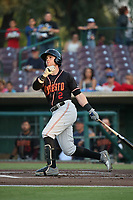 Logan Taylor (2) of the Modesto Nuts bats against the Inland Empire 66ers at San Manuel Stadium on June 2, 2017 in San Bernardino, California. Inland Empire defeated Modesto, 7-2. (Larry Goren/Four Seam Images)