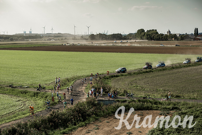 "dusty roads towards the finish<br /> <br /> Antwerp Port Epic 2018 (formerly ""Schaal Sels"")<br /> One Day Race: Antwerp > Antwerp (207km of which 32km are cobbles & 30km is gravel/off-road!)"