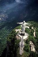 Life in Brazil world famous Corcovado Christ Statue on mountain in Rio de Janeiro peak.