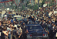 Mexican president Gustavo Díaz Ordaz (left) and U.S. President Richard Nixon (right) riding a presidential motorcade in San Diego, California, USA. 4 September 1970<br /> <br /> photo by Oliver F ATKINS - White House