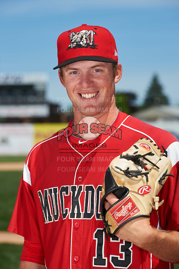 Batavia Muckdogs pitcher Travis Neubeck (13) poses for a photo before the teams first practice on June 15, 2016 at Dwyer Stadium in Batavia, New York.  (Mike Janes/Four Seam Images)