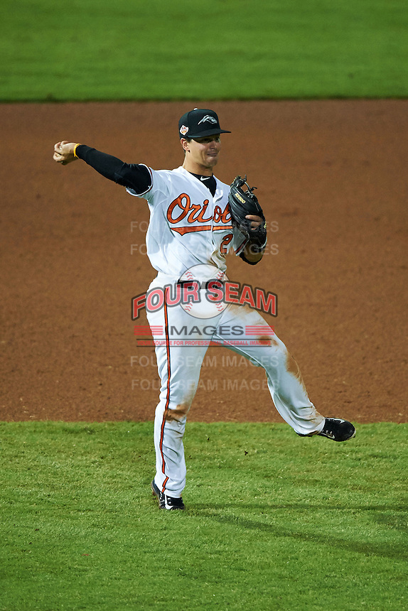 Peoria Javelinas shortstop Adrian Marin (2) throws to first during an Arizona Fall League game against the Scottsdale Scorpions on October 25, 2015 at Peoria Stadium in Peoria, Arizona.  Peoria defeated Scottsdale 3-1.  (Mike Janes/Four Seam Images)