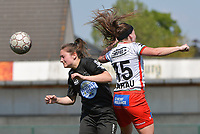 Liesa Capiau (15) of Zulte Waregem and Kenza Vrithof (9) of Woluwe  pictured during a female soccer game between SV Zulte - Waregem and White Star Woluwe on the 10 th and last matchday in play off 2 of the 2020 - 2021 season of Belgian Scooore Womens Super League , saturday 29 of May 2021  in Zulte , Belgium . PHOTO SPORTPIX.BE | SPP | DIRK VUYLSTEKE