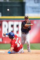 Scranton/Wilkes-Barre RailRiders shortstop Jonathan Diaz (1) throws to first as Jesus Montego (48) slides into second during a game against the Buffalo Bisons on July 2, 2016 at Coca-Cola Field in Buffalo, New York.  Scranton defeated Buffalo 5-1.  (Mike Janes/Four Seam Images)