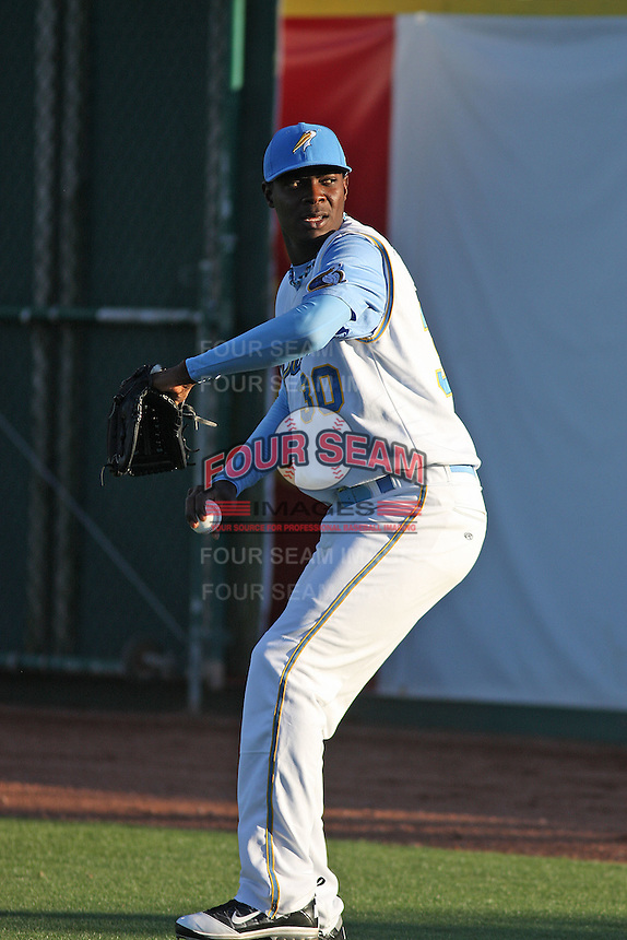 Myrtle Beach Pelicans pitcher Roman Mendez #30 warming up before a game against the Wilmington Blue Rocks at Tickerreturn.com Field at Pelicans Ballpark on April 7, 2012 in Myrtle Beach, SC. Myrtle Beach defeated Wilmington 2-1. (Robert Gurganus/Four Seam Images)