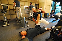 March 18, 2007: Atlanta Braves strength and conditioning coach Phil Falco works with a player during Spring Training in 2007. Falco, a roving instructor with the Braves organization at that time, was named strength and conditioning coach for the Atlanta parent club in June 2008.