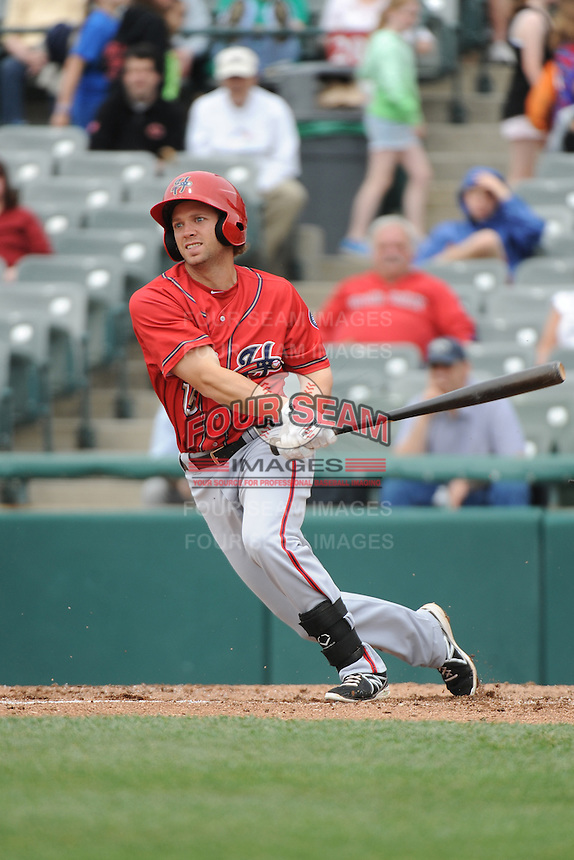 Harrisburg Senators outfielder Caleb Ramsey (28) during the game against the Trenton Thunder at ARM & HAMMER Park on May 21, 2014 in Trenton, New Jersey.  Harrisburg defeated Trenton 9-0.  (Tomasso DeRosa/Four Seam Images)
