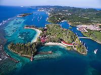 Honduras, Roatan Island, Fantasy Island Resort, Caribbean. Overview of 22 acre Fantasy Island from and Inspire drone.