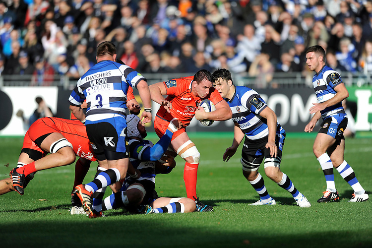 Louis Picamoles of Stade Toulousain drives forward during the European Rugby Champions Cup  Round 2 match between Bath Rugby and Stade Toulousain at The Recreation Ground on Saturday 25th October 2014 (Photo by Rob Munro)