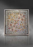 Roman mosaics - Geometric Mosaic. House of Okeanos, Ancient Zeugama, 2nd - 3rd century AD . Zeugma Mosaic Museum, Gaziantep, Turkey.  Against a grey background.