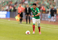 Mexico City, Mexico - Sunday June 11, 2017: Jesús Gallardo during a 2018 FIFA World Cup Qualifying Final Round match with both men's national teams of the United States (USA) and Mexico (MEX) playing to a 1-1 draw at Azteca Stadium.