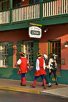 Re-Enactors walk through downtown St. Augustine, Florida