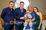 The christening of Ben Casey from Causeway in the Ballyroe Heights Hotel on Sunday, l to r: Maurice Brosnan (GF), Dad John and baby Ben Casey, mom Christina O'Sullivan and Katie Flaherty (GM).
