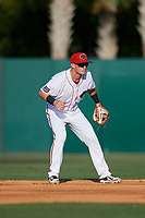 Florida Fire Frogs second baseman Marcus Mooney (11) during a game against the Palm Beach Cardinals on May 1, 2018 at Osceola County Stadium in Kissimmee, Florida.  Florida defeated Palm Beach 3-2.  (Mike Janes/Four Seam Images)