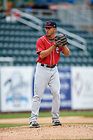 New Hampshire Fisher Cats relief pitcher Jose Fernandez (35) gets ready to deliver a pitch during the first game of a doubleheader against the Harrisburg Senators on May 13, 2018 at FNB Field in Harrisburg, Pennsylvania.  New Hampshire defeated Harrisburg 6-1.  (Mike Janes/Four Seam Images)
