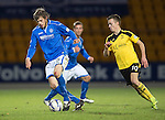 St Johnstone v Livingston.....30.11.13     Scottish Cup 4th Round<br /> Murray Davidson is closed down by Stefan Scougall<br /> Picture by Graeme Hart.<br /> Copyright Perthshire Picture Agency<br /> Tel: 01738 623350  Mobile: 07990 594431