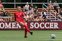 NEWTON, MA - AUGUST 29: MaryKate Ward #0 of University of Connecticut passes the ball during a game between University of Connecticut and Boston College at Newton Campus Soccer Field on August 29, 2021 in Newton, Massachusetts.