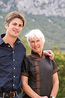Yves Orliac, son of Jean and Marie-Therese Orliac, with his mother Domaine de l'Hortus. Pic St Loup. Languedoc. Owner winemaker. France. Europe.