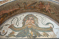 3rd century AD Roman mosaic water basin mosaic depicting the head of Neptune surrounded by sea monsters and Nereids (nymphs), and Xenia which were gifts of hospitality. From the House of Neptune, Thuburbo Maius, Tunisia.  The Bardo Museum, Tunis, Tunisia.